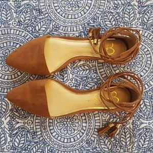 Jessica Simpson wrap up brown flats